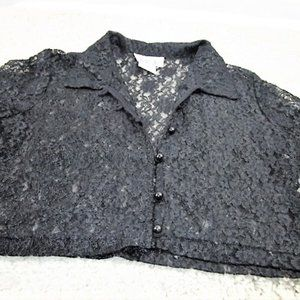 90's Black Lace Crop Top By Lisa Jo-2X